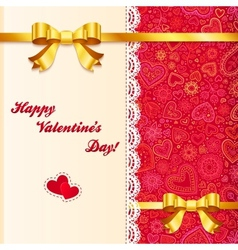 Valentines day lacy card with golden bows vector image vector image