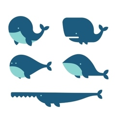 Whale Icon Set Cartoon Style on White Background vector image