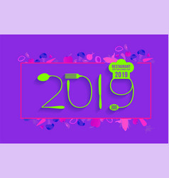 2019 new year text made number with spoon vector image