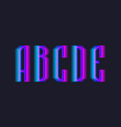 A b c d e stepped letters blue pink vector