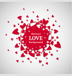 abstract round love background with red hearts vector image