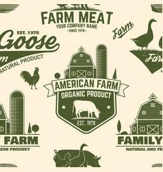 American farm seamless pattern vector