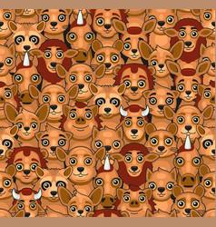 animals seamless pattern cute cartoon style vector image