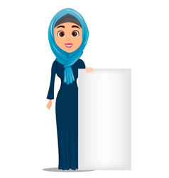 Arabic woman standing near big blank sign cute vector
