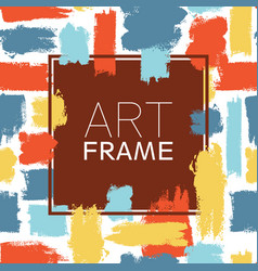 Art frame square blue yellow red color elements vector
