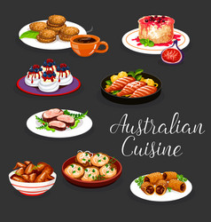 Australian meat and fish with vegetables desserts vector