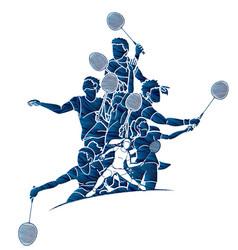 Badminton player action cartoon graphic vector