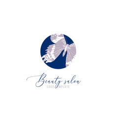 beauty salon logo template with hand drawn vector image