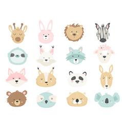 big set cute hand drawn animals vector image