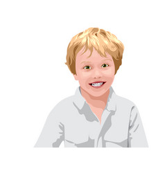 Blonde haired boy with green eyes in white shirt vector