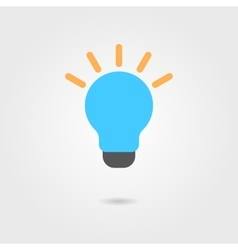 blue bulb icon with shadow vector image