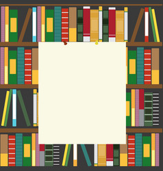 Bookshelf and empty blank board vector