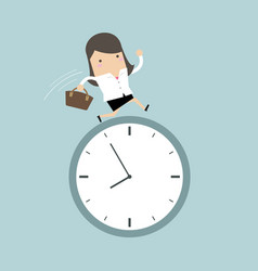 businesswoman running on clock vector image