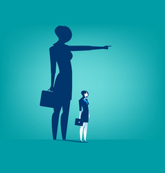 businesswoman shadow pointing with him vector image