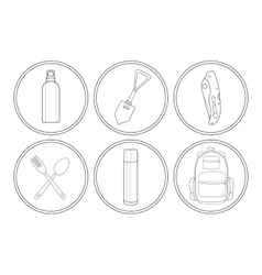 Camping linear icon set vector image