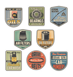 Car repair service retro icons vector