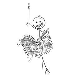 cartoon of happy businessman reading good vector image