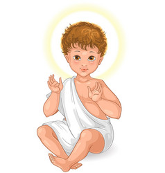 Child jesus seated cartoon isolated on white vector