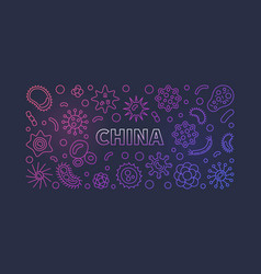 china viruses outline colored horizontal vector image
