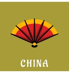 Chinese open folding fan in flat style vector