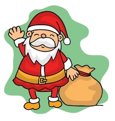 Christmas character Santa with gift bag vector image