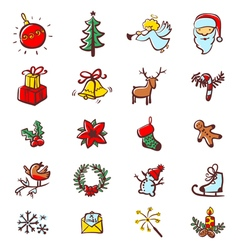 Christmas minimalistic icons vector