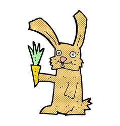 Comic cartoon rabbit with carrot vector