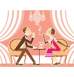 Couple man and woman in vintage vector