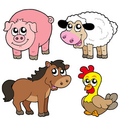 cute country animals collection vector image