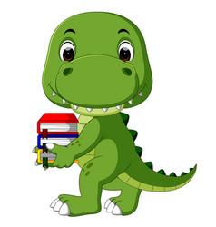 Cute crocodile carrying book vector