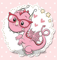 Cute dragon girl in a red eyeglasses vector