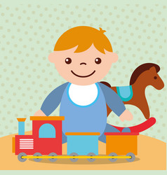 Cute toddler boy with rocking horse train wagons vector