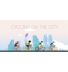 Cycling on the city Flat style vector