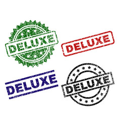 Damaged textured deluxe seal stamps vector