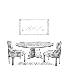 Drawing cafe interior vector