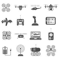 Drones Black White Icons Set vector image