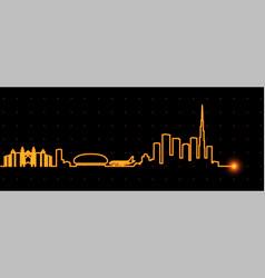 dubai light streak skyline vector image