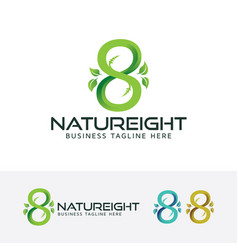 Eight or infinity symbol and nature logo vector