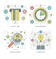 Flat line Employee Search Payment Time vector image