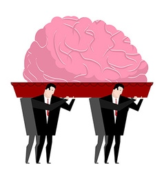 Funeral brain mind is carried in coffin burial vector