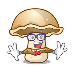 Geek portobello mushroom character cartoon vector