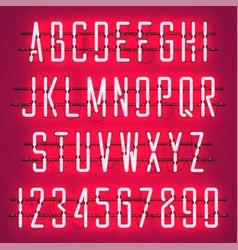 glowing red neon casual script font vector image