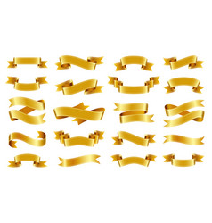 gold ribbon text banner flat tape icon set vector image