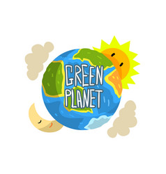 Green planet save the planet ecology concept vector