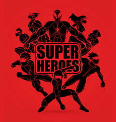group of superhero action vector image
