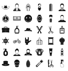 Hairdresser icons set simple style vector