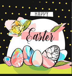 Hand drawn abstract creative happy easter vector