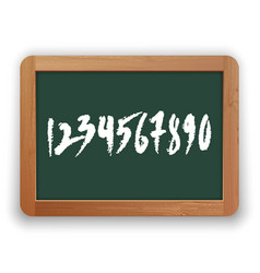 hand drawn numbers on green blackboard vector image