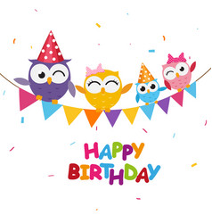 happy birthday celebration with cute owl vector image