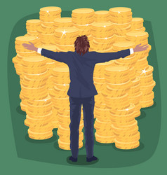 happy businessman near lot of gold coins money vector image